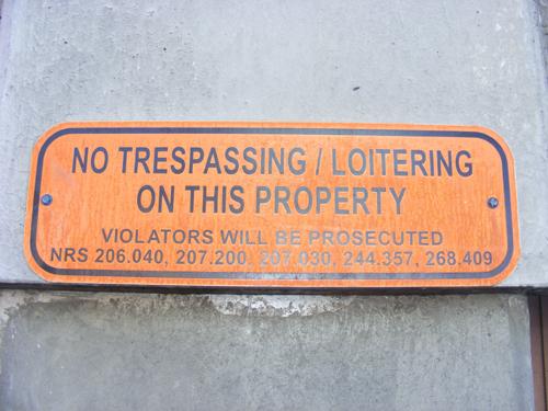 No Trespassing or Loitering - Clark County Detention Facility