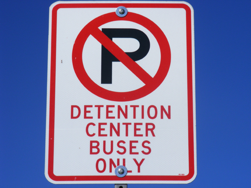 Detention Center Buses Only Sign by the Clark County Detention Facility Downtown Las Vegas